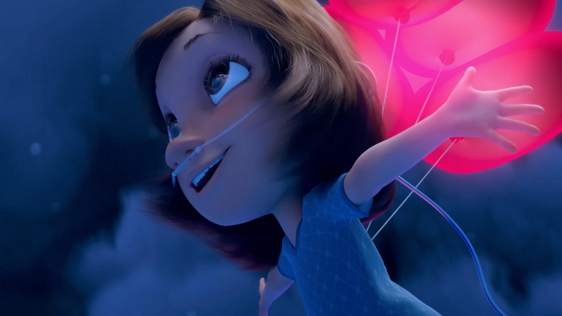 Na ilustração, a menina voa suspensa por balões em formato de corações. A menina usa tubos de oxigênio no nariz e usa roupas de paciente de hospital.