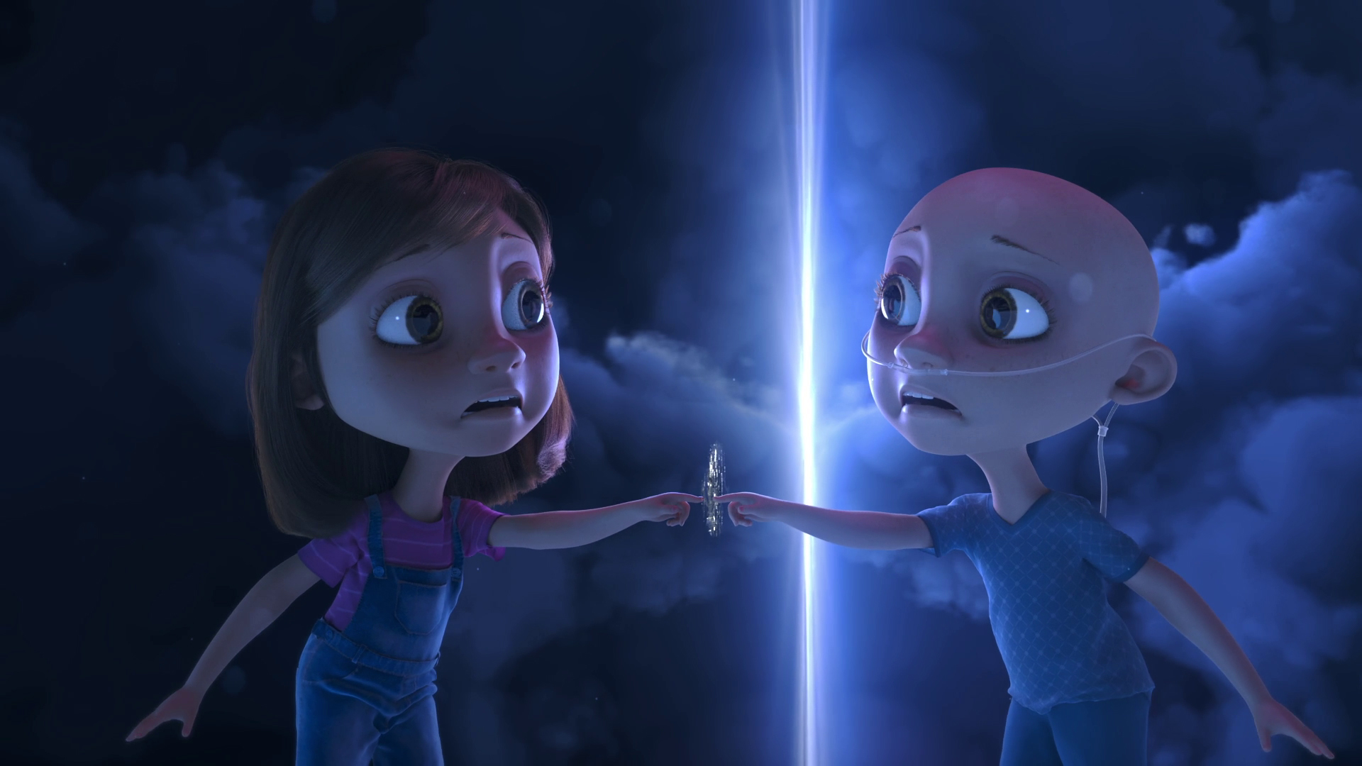 Na ilustração, uma menina com câncer expressa espanto ao ver outra versão dela mesma. A menina da direita está careca, veste roupas de um paciente de hospital e está com tubos de oxigênio no nariz. A menina da esquerda possui aparência saudável, veste macacão e camiseta rosa.