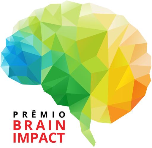 Na imagem, uma ilustração de um cérebro. Há o texto: prêmio brain impact