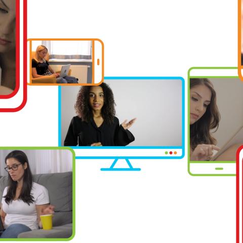Montagem com fotos de várias pessoas usando notebook, celulares ou tablets para estudar.