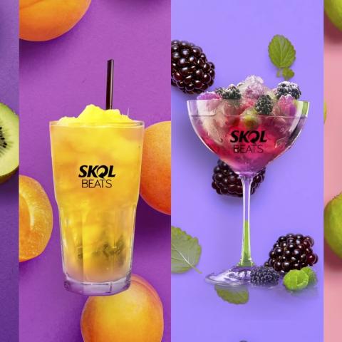 Imagem com 4 drinks de Skol Beats, com fundos coloridos e frutas.