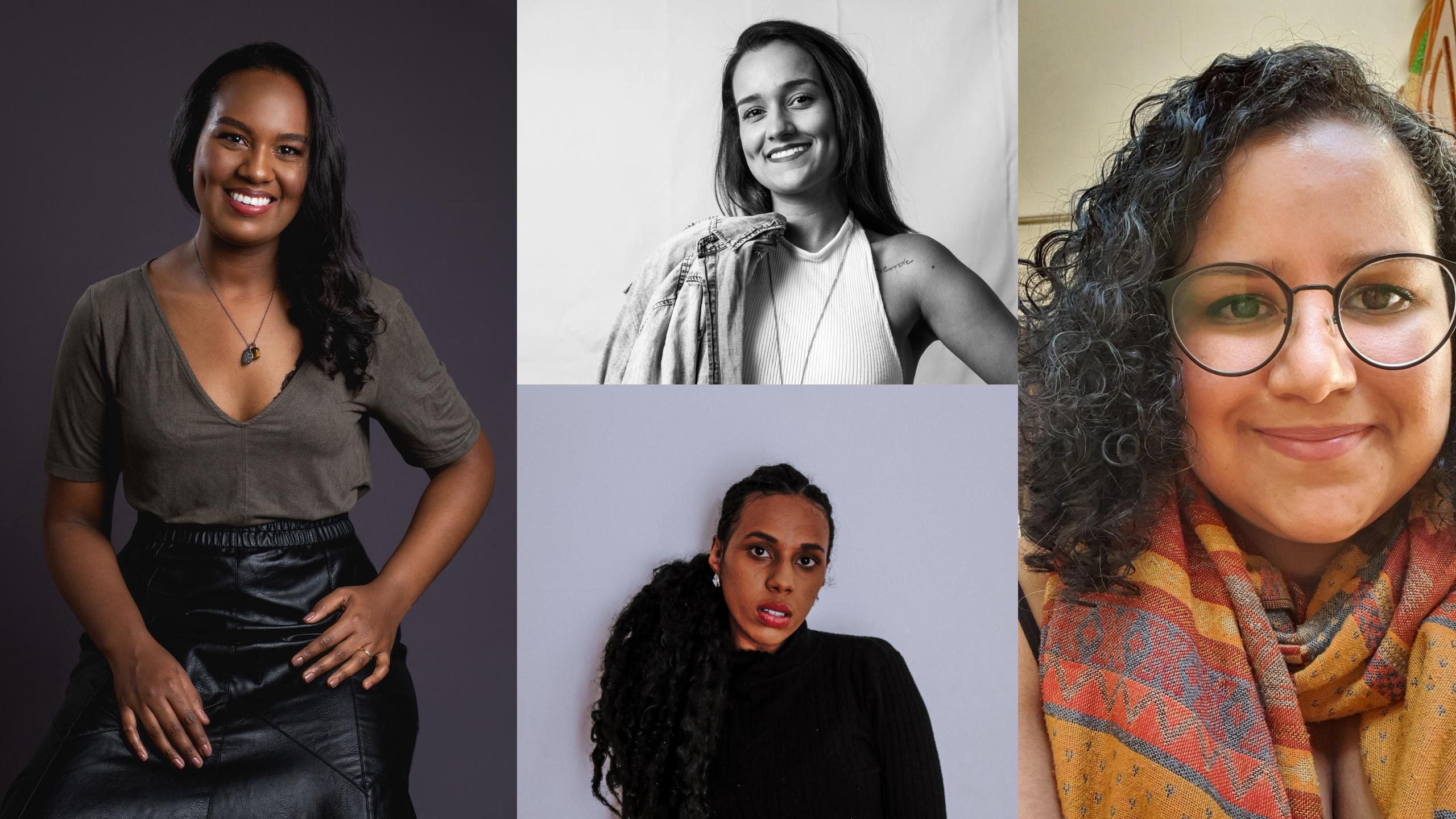 Na imagem, temos uma montagem com fotos das participantes do primeiro grupo de mentoria: Cíntia Pessoa, Beatriz Lopes, Fernanda Araújo e Thamires Oliveira.