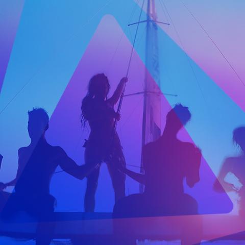 Imagem com a sombra de 5 pessoas em um barco, com logo de Beats em marca d'água e fundo de cor roxa e azul