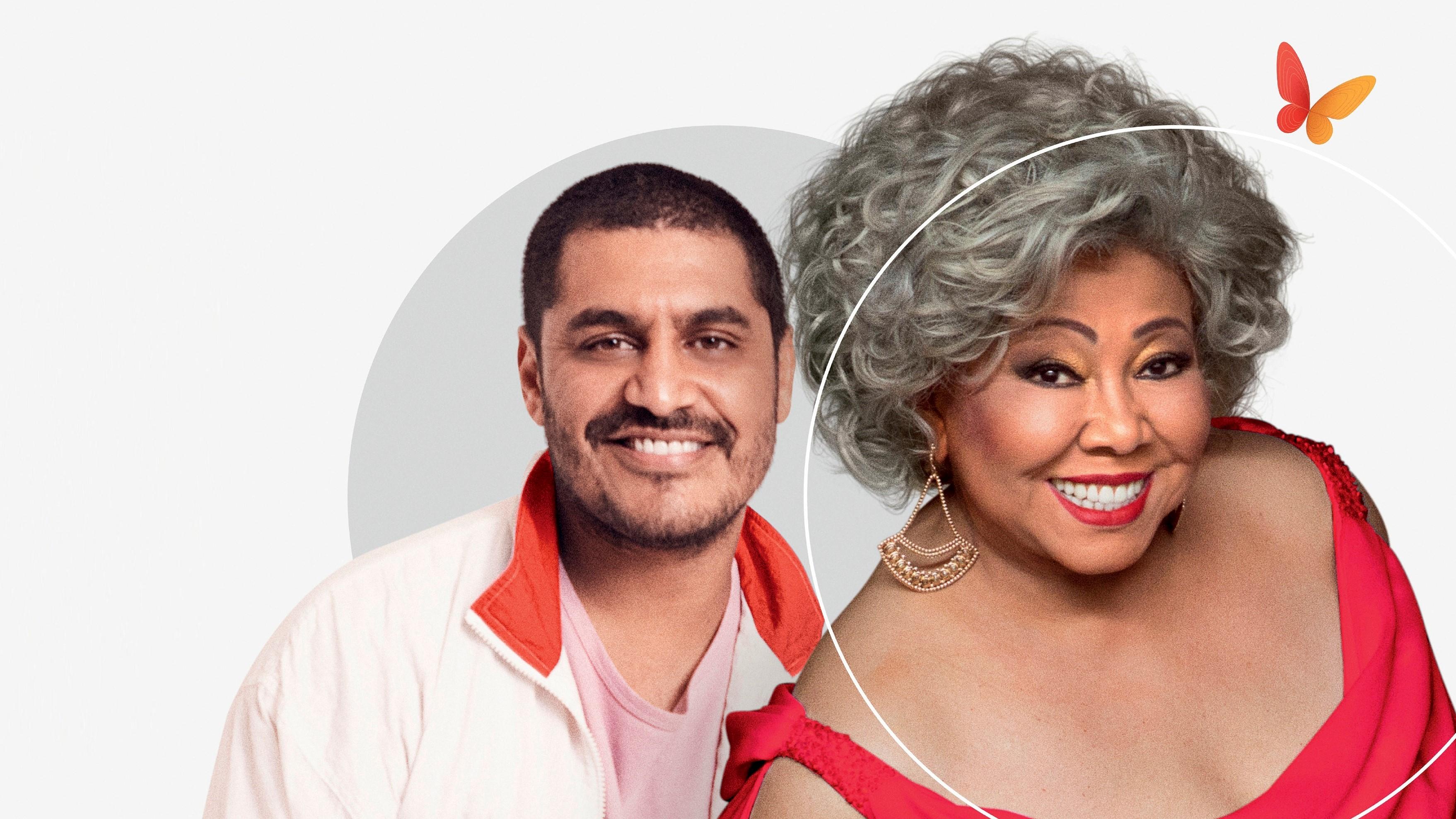 Na imagem, aparecem os cantores Criolo e Alcione
